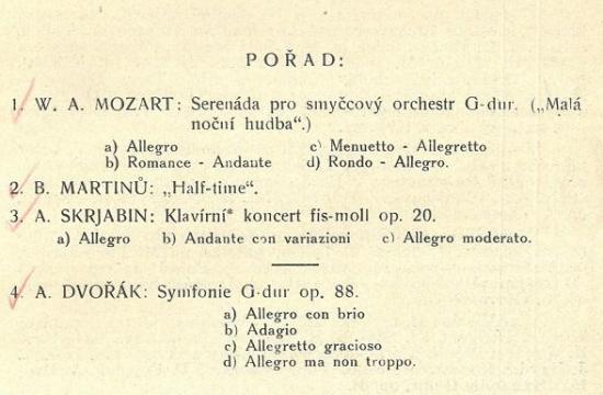 Program koncertu – Half-time, premiéra 7.prosince 1924