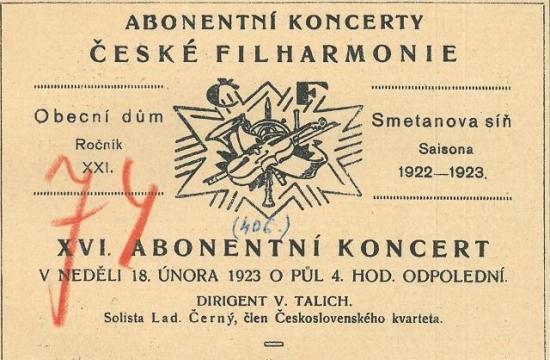 Program koncertu – Míjející půlnoc aModrá hodina, premiéra 18.února 1923