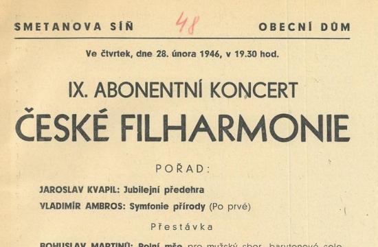 Program koncertu – Polní mše, premiéra 28.února 1946