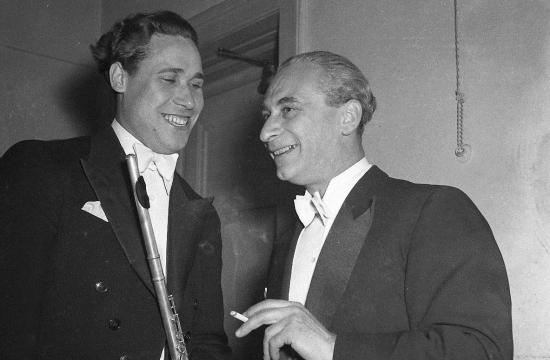 Karel Ančerl sflétnistou Alexanderem Kornějevem, 20.květen 1954, Smetanova síň Obecního domu
