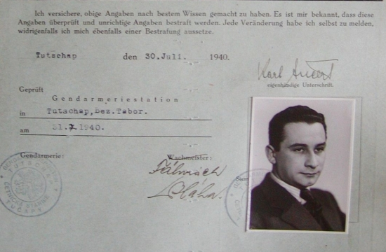 Karel Ančerl. Dokument zpolicejního registru Židů z roku 1940