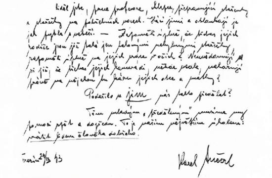 Dopis Karla Ančerla zTerezína