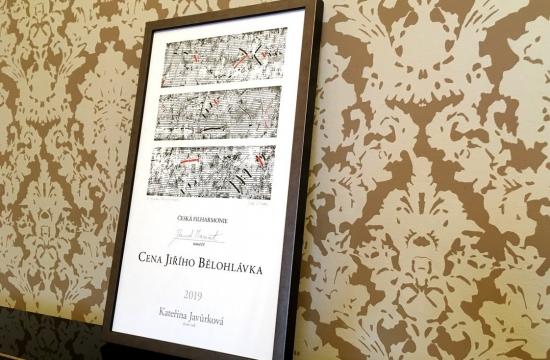 Cena Jiřího Bělohlávka. Originální grafický list zpracoval malíř a grafik Jiří Voves