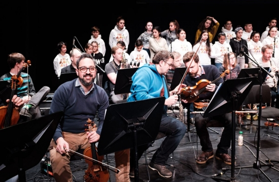 Zkouška (brzká) nakoncert zahajující konferenci Asociace britských orchestrů vestředu 23.ledna 2019