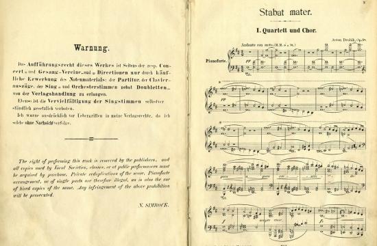 První tištěné vydání klavírního výtahu Stabat Mater, začátek 1.části