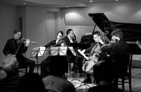 A chamber music concert atTokyo's Kawai concert salon on 26 October 2015: Josef Špaček Jr, Irena Herajnová, David Mareček, Václav Petr, and Jaroslav Pondělíček.