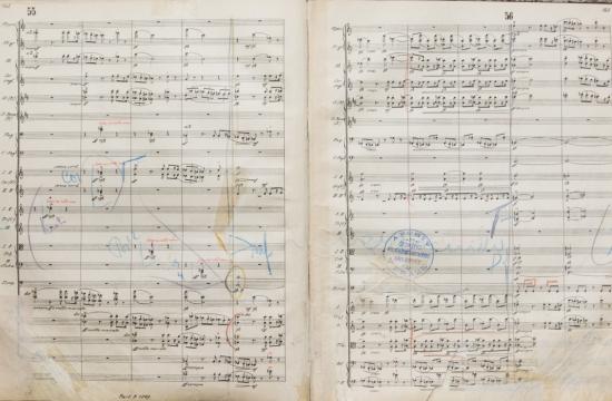 Partitura symfonie Asrael s poznámkami