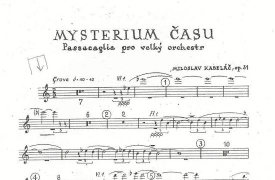 První strana ručně psaného partu druhých houslí