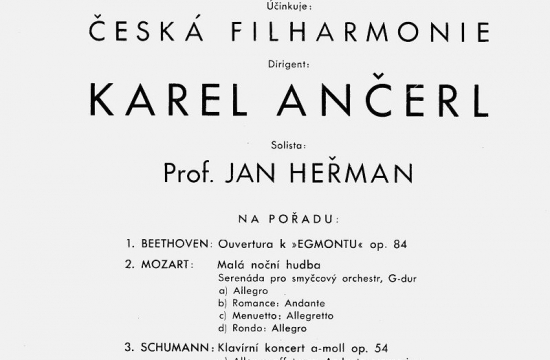 Program koncertu dirigovaného Karlem Ančerlem