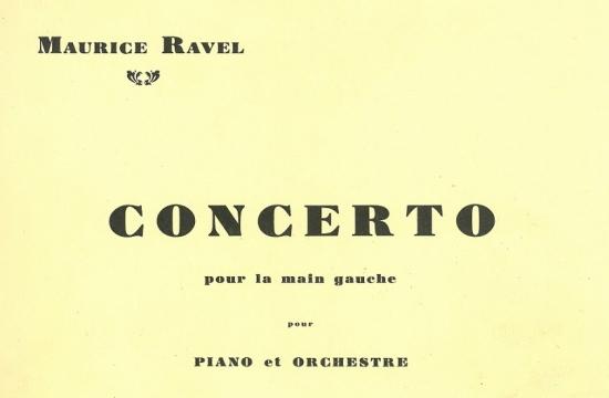 Partitura Klavírního koncertu pro levou ruku Maurice Ravela