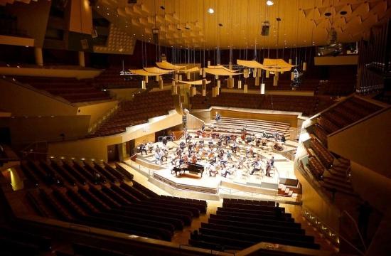 Hlavní sál berlínské filharmonie scentrálním uspořádáním sedadel