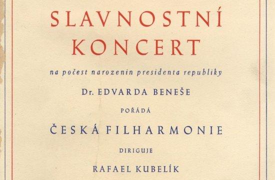 Program slavnostního koncertu knarozeninám Edvarda Beneše