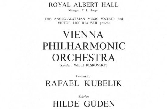 Plakát zvystoupení sVienna Philharmonic Orchestra vlondýnské Royal Albert Hall