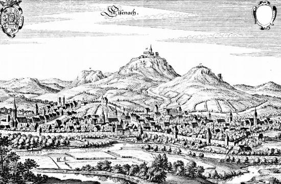 Dobový pohled na Eisenach, kde se Bach na první jarní den roku 1685 narodil