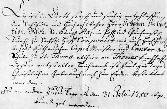 Oznámení o Bachově úmrtí
