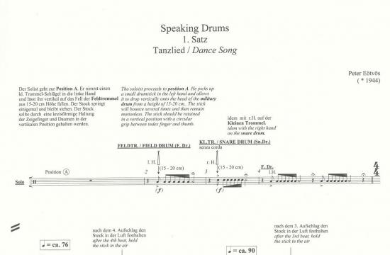 První stránka partitury skladby Speaking Drums