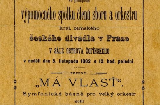 Program prvního souborného provedení celého cyklu, které se uskutečnilo 5.listopadu 1882 vPraze naŽofíně