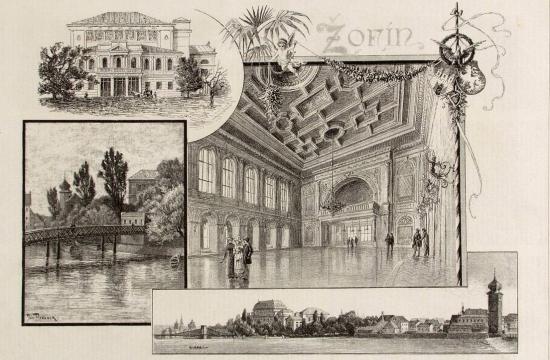 Žofín na dobové ilustraci včasopise Světozor (1886)