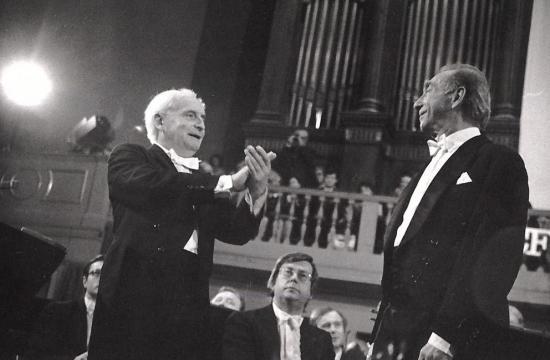 Václav Neumann s Karlem Bermanem na koncertě k 90. narozeninám České filharmonie, 1986