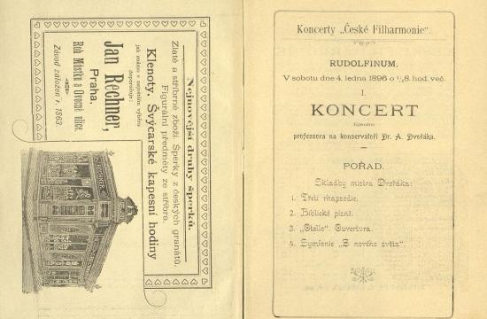 Program prvního koncertu České filharmonie i s dobovou reklamou