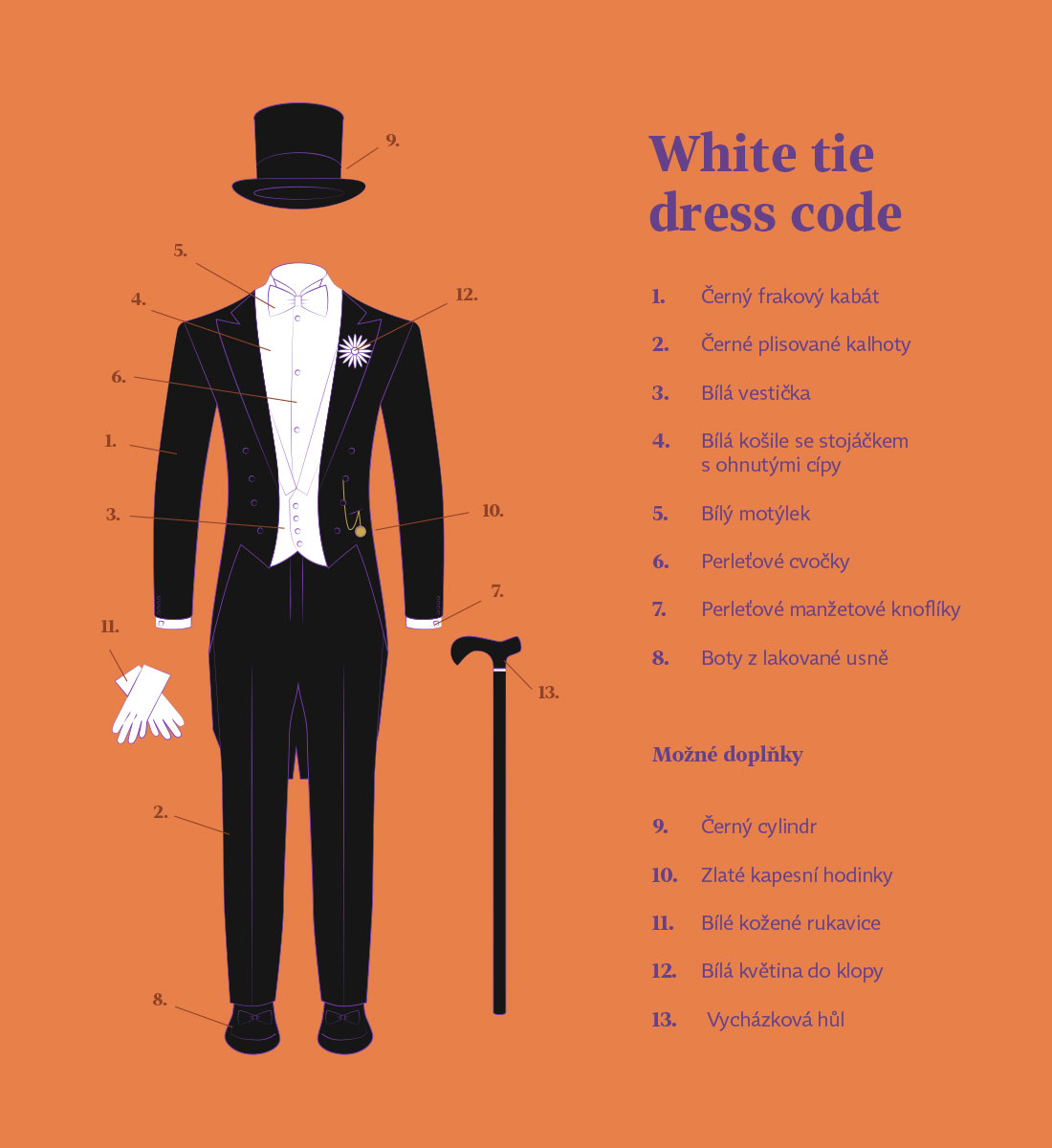 """Vzorové zobrazení dress codu """"White tie"""""""