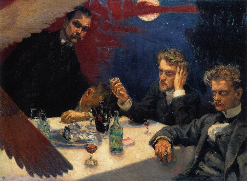 Jean Sibelius na obraze Symposium (1894) finského malíře Akseli Gallen-Kallela(1865–1931). Zleva Akseli Gallen-Kallela, Oskar Merikanto, Robert Kajanus a Jean Sibelius.